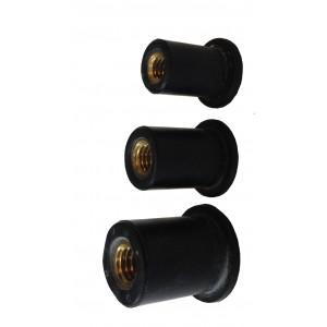 Ecrou SERFLEX à sertir EPDM M6 épaisseur à sertir de 0,4 à 2,8 mm : LOT de 15pcs