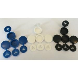 Lot de 3x4 capuchons de couleur 4 Noirs, 4 Bleus, 4 Blancs pour rivet de plaque: Le LOT de 12pcs