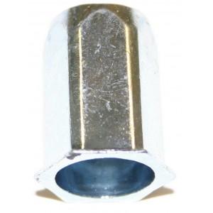 Écrou à sertir en aveugle corps hexagonal acier zingué blanc M5 x 13 - quantité/sachet : 100