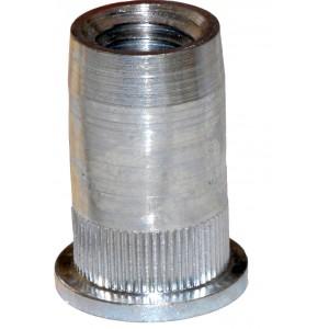 Écrou à sertir en aveugle acier zingué blanc M10 x 19,8 SERBLOC - quantité/sachet : 50